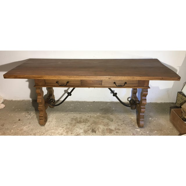 Baroque 18th Century Baroque Original Farm Refectory Desk Table With Two Drawers For Sale - Image 3 of 11