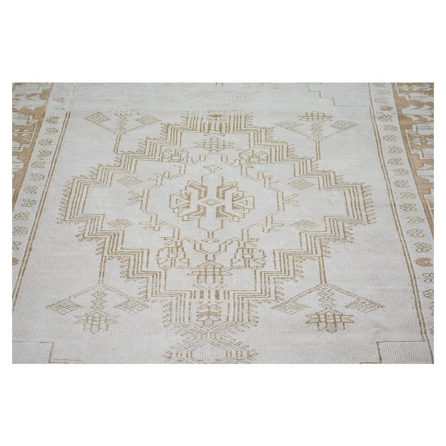 """Shabby Chic Vintage Turkish Anatolian Oushak Hand Knotted Organic Wool Fine Weave Rug,4'6""""x8'3"""" For Sale - Image 3 of 6"""