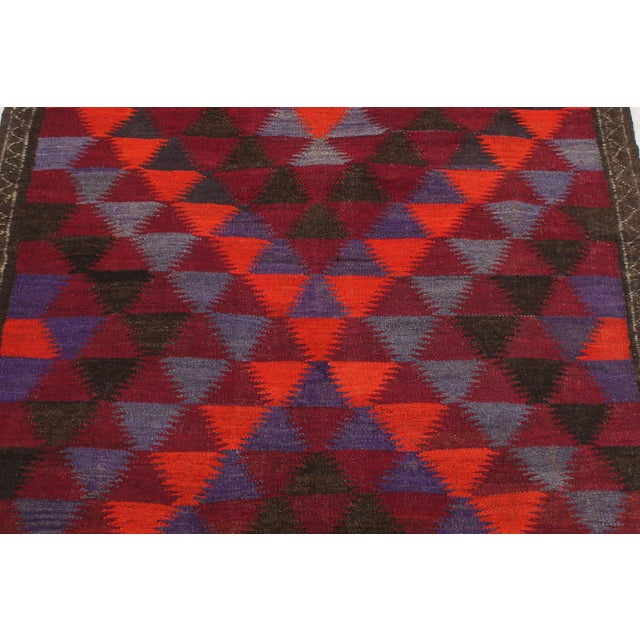 "Antique Turkish Vintage Kilim Jamey Red Orange Hand-Woven Area Rug 3'11"" X 10'4"" For Sale - Image 4 of 10"