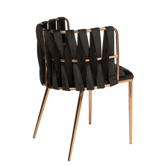 Contemporary Modern Milano Dining Chair in Black and Gold For Sale - Image 3 of 5