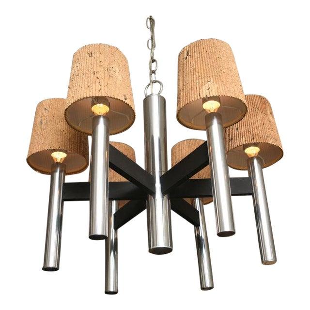 Modern Feldman Lamp Co. Chrome Tubular Chandelier with Cork Shades. For Sale