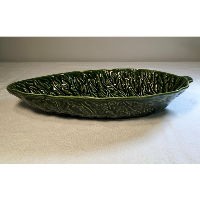 Two large Majolica Cabbage Leaf serving bowls. Dimensions are for each bowl These bowls are in very good vintage condition...
