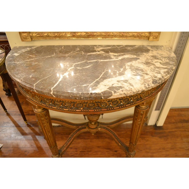 Antique French Louis XVI Openwork Gold Console with Original Marble