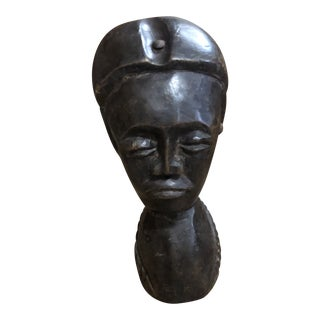 Vintage 1970s African Hand Carved Wooden Figure For Sale