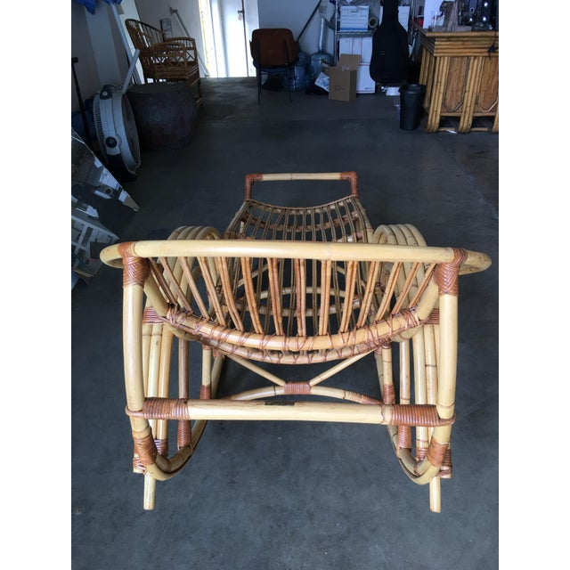 """1950s Restored """"Day Dreaming"""" Rattan Rocking Lounge Chair For Sale - Image 5 of 9"""