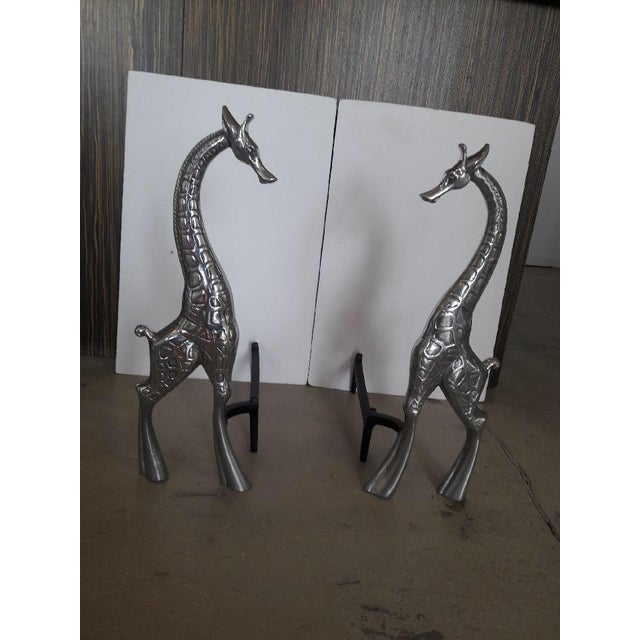 Metal Pair of Giraffe Andirons by Arthur Court For Sale - Image 7 of 11