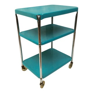 Mid-Century Metal Rolling Bar Cart For Sale