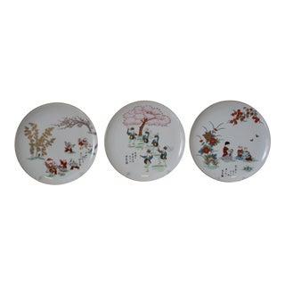 Vintage Fukagawa Studios Porcelain Plates - Set of 3 For Sale
