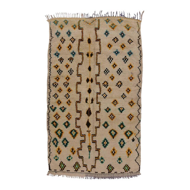 Mid-Century Modern Berber Moroccan Rug with Tribal Design For Sale