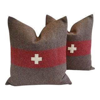 "22"" Custom Tailored Swiss Appliqué Cross Wool Feather/Down Pillows - Pair"