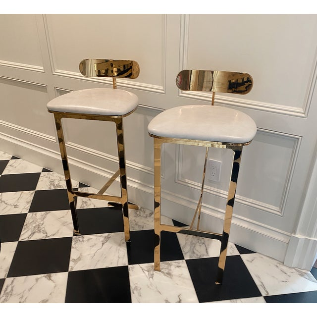 Modern Solid Brass Bar Stools With Leather Seats - A Pair For Sale - Image 3 of 3