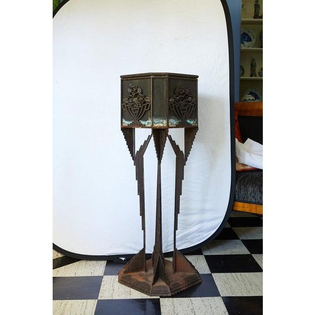 Art Deco Iron Pedestal Planter For Sale - Image 4 of 13
