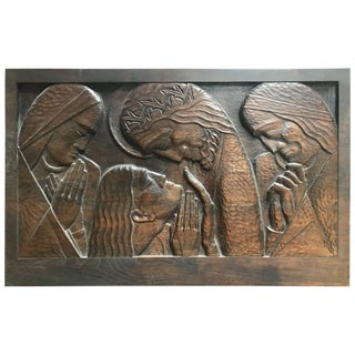 Art Deco w.p.a. Era Carved Black Walnut Wall Plaque by William Ehrich Circa 1934 For Sale