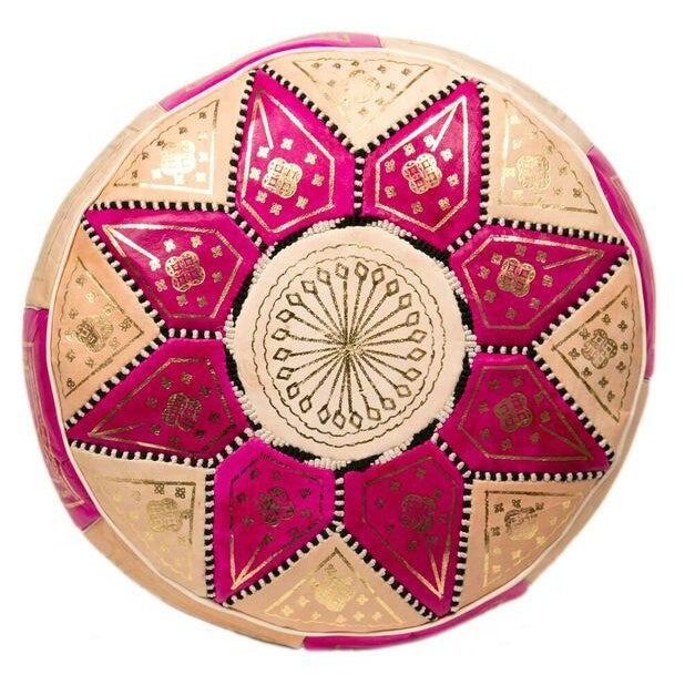 Marrakech Leather Pouf in Fuchsia (Stuffed) - Image 1 of 3