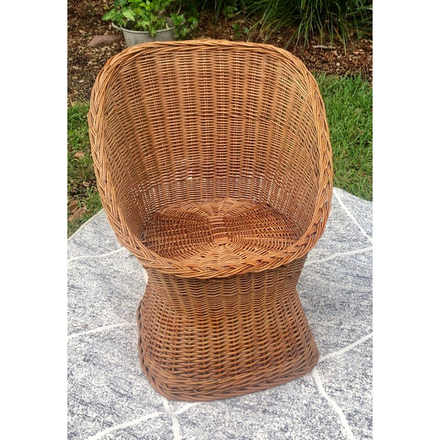Boho Chic 1970s Vintage Wicker Chair For Sale - Image 3 of 5
