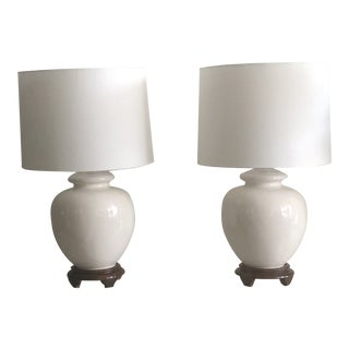 Mid-Century White Turnip Shape Lamps - A Pair For Sale