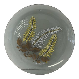 1970s Smoked Glass Dish With Ferns by Georges Briard For Sale