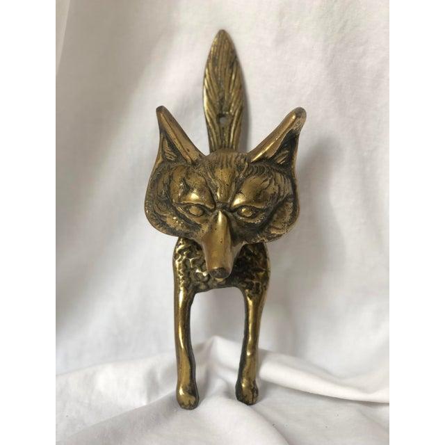 Mid-Century Brass Fox Door Knocker For Sale - Image 10 of 10