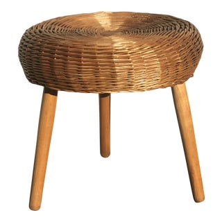 1950s Tony Paul Wicker Stool For Sale