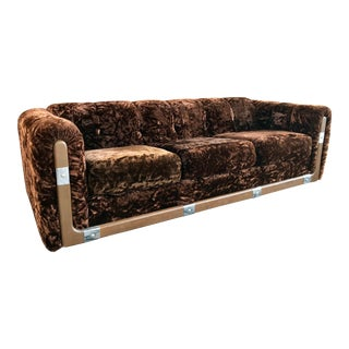 70's Crushed Brown Velvet Sofa For Sale