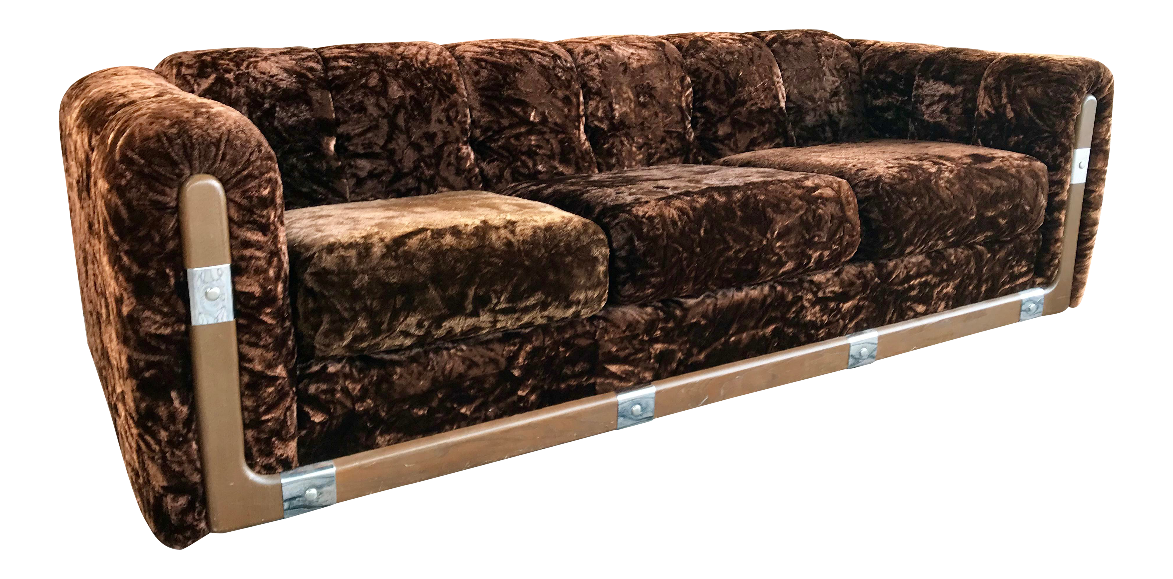 70u0027s Crushed Brown Velvet Sofa For Sale