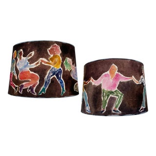 Happy Menocal Contemporary Brown Custom Painted Lampshades - a Pair