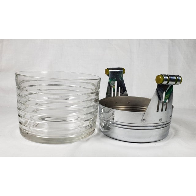 Art Deco Chrome Ice Bucket With Ribbed Glass Insert and Tongs For Sale - Image 4 of 9