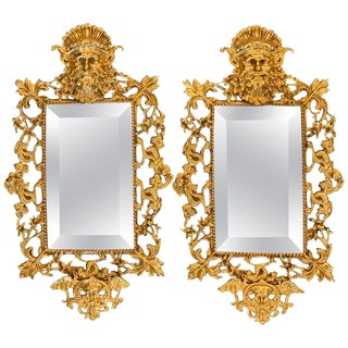 Pair of Napoleon III Brass Neptune Motif Mirrors For Sale
