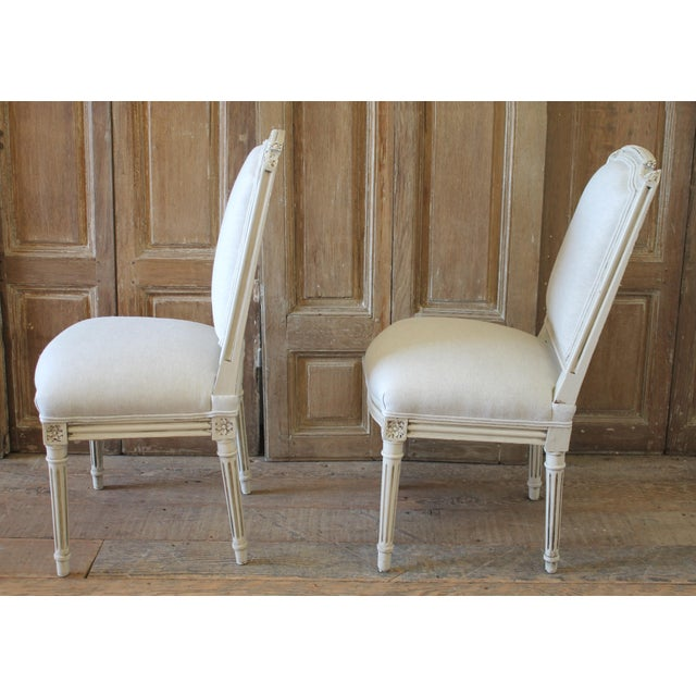 Early 20th Century Louis XVI Style Painted and Upholstered Childs Chairs - a Pair For Sale - Image 10 of 13