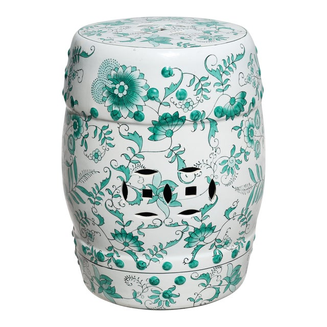 Green and White Garden Stool Table With Hand-Painted Flowers and Vines For Sale
