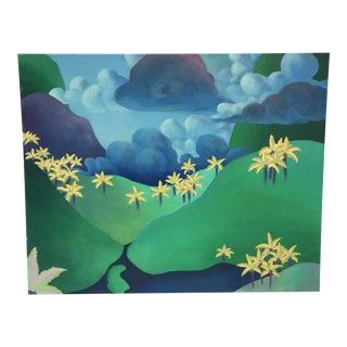 Surrealistic Landscape Oil on Canvas Painting For Sale