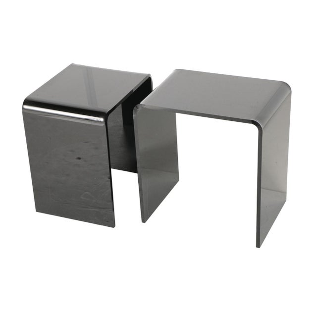 Mid-Century Modern Smoked Lucite Nesting Tables - A Pair For Sale - Image 3 of 8