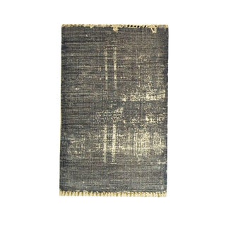 Grey Blue Printed Cotton Small Rug - 2′ × 3′ For Sale