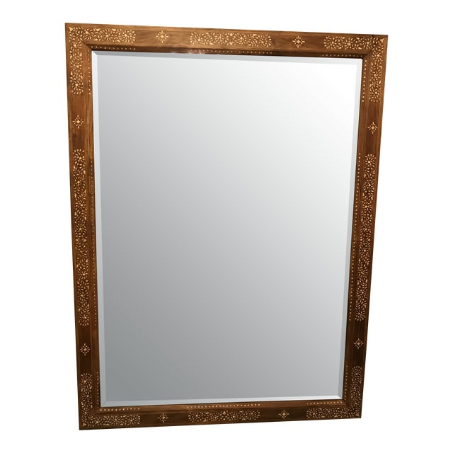 Large Teak Mirror With Bone Inlay For Sale