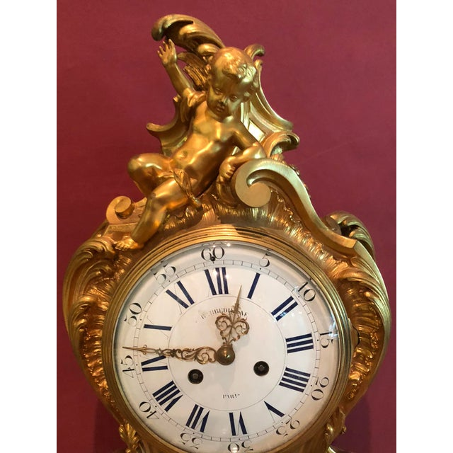 Mid 19th Century Antique f.f. F. Barbedienne Louis XV Mantle Clock For Sale In Miami - Image 6 of 13