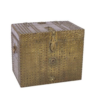 Spanish Brass Covered Traveling Box With Brass Nailhead Trim, Circa 1810 For Sale