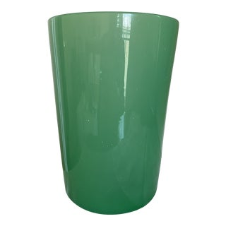 Green Opaque Hand-Blown Modern Glass Vase For Sale