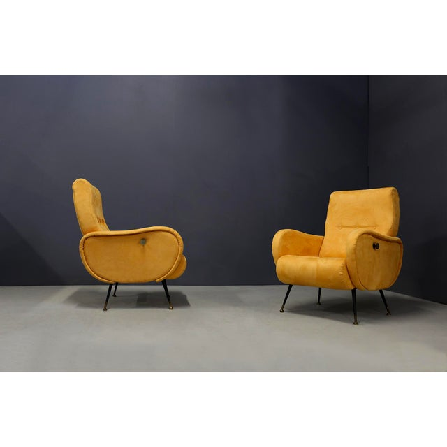 Pair of MidCentury Reclining Armchairs in Yellow Velvet in Zanuso Style, 1950s For Sale - Image 6 of 9
