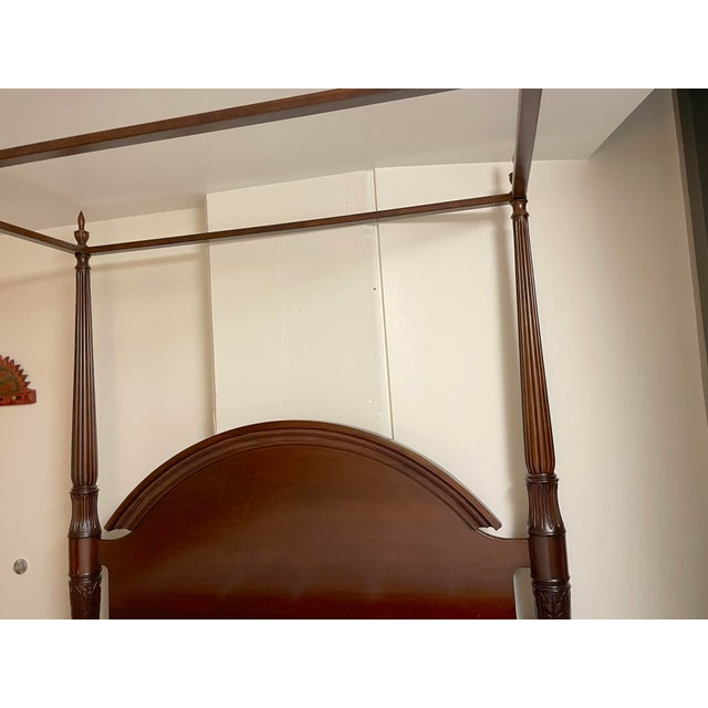 American Bombay Company Mahogany Four Poster Bed With Canopy For Sale - Image 3 of 10