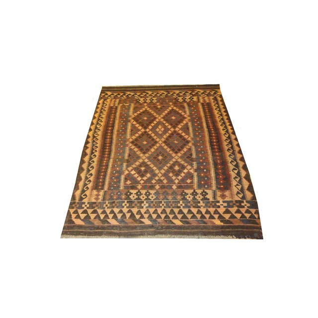 "Afghan Brown Kilim Rug - 6'9"" x 9'8"" For Sale"