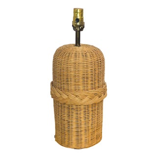 1960 Boho Chic Wicker Table Lamp For Sale