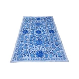Boho Chic Blue Combination Pomegranate Design Suzani Throw/Floral Bedspread For Sale