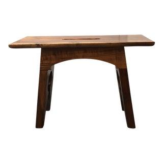 Contemporary Hand-Carved Black Walnut Footstool