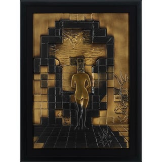 """1979 """"Lincoln in Dalivision"""" Bronze Bas Relief Sculpture by Salvador Dalí, Framed For Sale"""