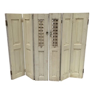 Vintage French Mini Trifold Shutters - A Pair For Sale
