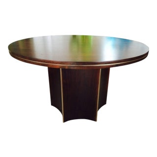 1970s Modern McGuire Brass-Detailed Mahogany Center Table