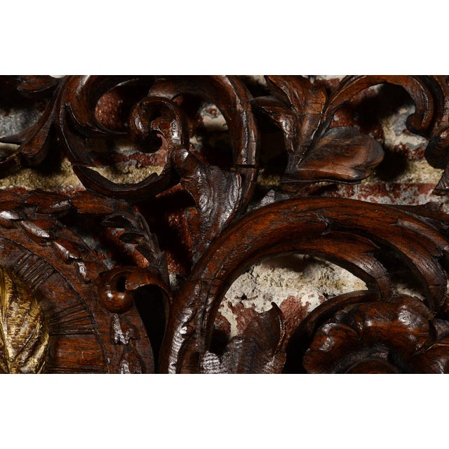 Wood Antique Rococo Carved Wood Wall Panel For Sale - Image 7 of 11