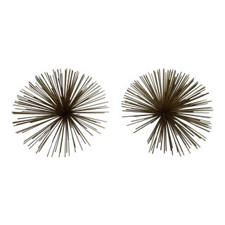Gold Metal Starburst Wall Hangings- a Pair For Sale