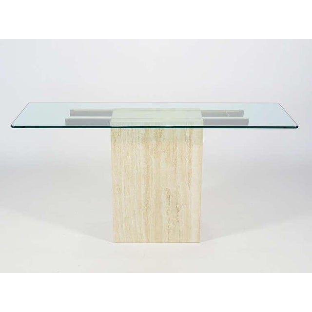 Italian Travertine and Glass Console Table by Ello For Sale - Image 5 of 11