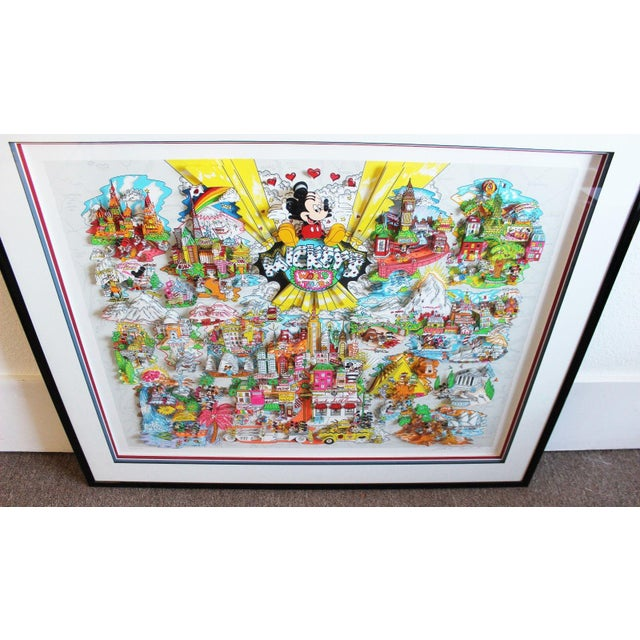 Blue Mickey's World Tour 3d Framed Art by Charles Fazzino For Sale - Image 8 of 10
